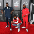 ATLANTA, GEORGIA - OCTOBER 01: (L-R) D.C. Young Fly, Chico Bean and Karlous Miller of 85 South attend the 2021 BET Hip Hop Awards at Cobb Energy Performing Arts Centre on October 01, 2021 in Atlanta, Georgia. (Photo by Paras Griffin/Getty Images for BET)