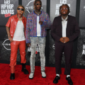 ATLANTA, GEORGIA - OCTOBER 01: (L-R) Taurus, Young Thug and Gunna attends the 2021 BET Hip Hop Awards at Cobb Energy Performing Arts Center on October 01, 2021 in Atlanta, Georgia. (Photo by Paras Griffin/Getty Images for BET)