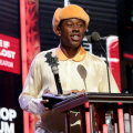 ATLANTA, GEORGIA - OCTOBER 01: Tyler, the Creator accepts the  'Hip Hop Album of the Year' onstage during the 2021 BET Hip Hop Awards at Cobb Energy Performing Arts Center on October 01, 2021 in Atlanta, Georgia. (Photo by Leon Bennett/2021 BET Hip Hop Awards/Getty Images)