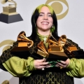 "LOS ANGELES, CALIFORNIA - JANUARY 26: Billie Eilish, winner of Record of the Year for ""Bad Guy"", Album of the Year for ""when we all fall asleep, where do we go?"", Song of the Year for ""Bad Guy"", Best New Artist and Best Pop Vocal Album for ""when we all fall asleep, where do we go?"", poses in the press room during the 62nd Annual GRAMMY Awards at STAPLES Center on January 26, 2020 in Los Angeles, California. (Photo by Alberto E. Rodriguez/Getty Images for The Recording Academy)"