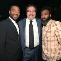 """HOLLYWOOD, CALIFORNIA - JULY 09: (L-R) Chiwetel Ejiofor, Director/producer Jon Favreau and Donald Glover attend the World Premiere of Disney's """"THE LION KING"""" at the Dolby Theatre on July 09, 2019 in Hollywood, California. (Photo by Charley Gallay/Getty Images for Disney)"""