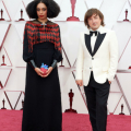 Oscar® nominees Celeste Waite (L) and Daniel Pemberton arrive on the red carpet of The 93rd Oscars® at Union Station in Los Angeles, CA on Sunday, April 25, 2021.