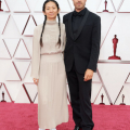 Oscar® nominees Chloé Zhao and Joshua James Richards arrive on the red carpet of The 93rd Oscars® at Union Station in Los Angeles, CA on Sunday, April 25, 2021.
