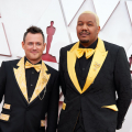 Oscar® nominees Martin Desmond Roe and Travon Free arrive on the red carpet of The 93rd Oscars® at Union Station in Los Angeles, CA on Sunday, April 25, 2021.