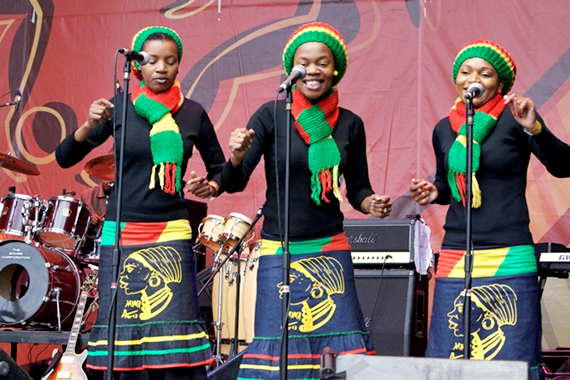 The back up singers at Soweto Concert in South Africa