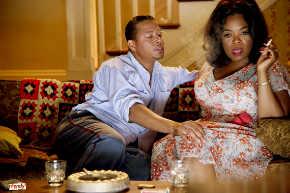 Terrence Howard and Oprah Winfrey on set