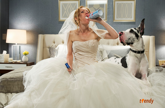 Kate (Leslie Mann) takes solace in some whipped cream, a lavish hotel room, and an attentive pooch - Photo Credit Barry Wetcher