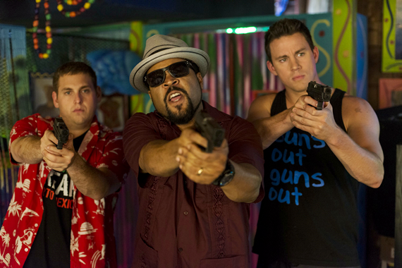 Schmidt (Hill) and Jenko (Tatum) with Dickson (Ice Cube) confront the bad guys in 22 Jump Street - photo by Glen Wilson