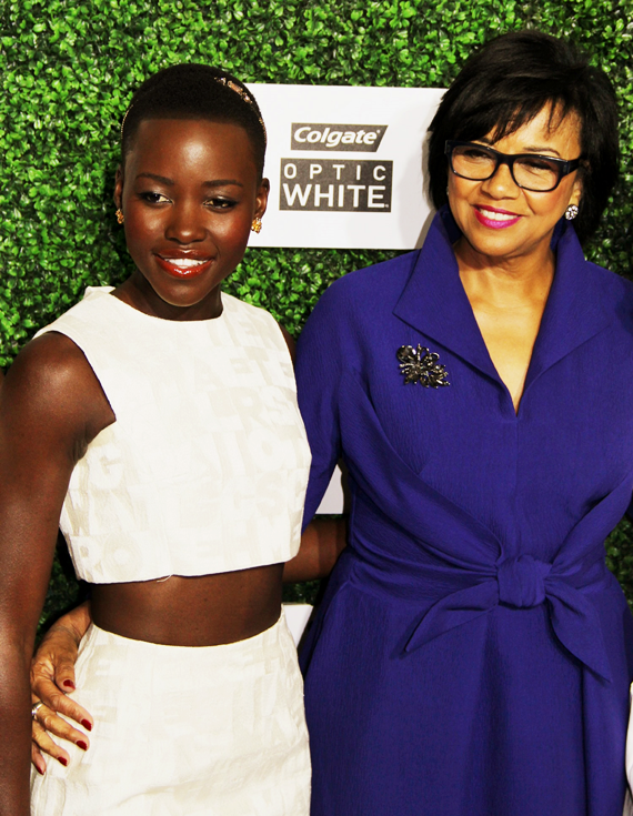 Lupita Nyong'o with Academy President Cheryl Boone Isaacs - photo courtesy of Royalty Image