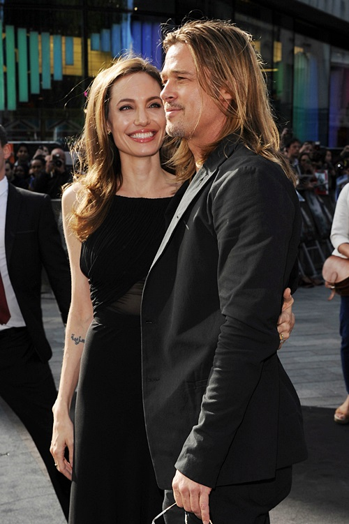 Angelina Jolie and Brad Pitt attend the World Premiere of 'World War Z' (Photo by Stuart C. Wilson/Getty Images for Paramount Pictures International) *** Local Caption *** Angelina Jolie; Brad Pitt