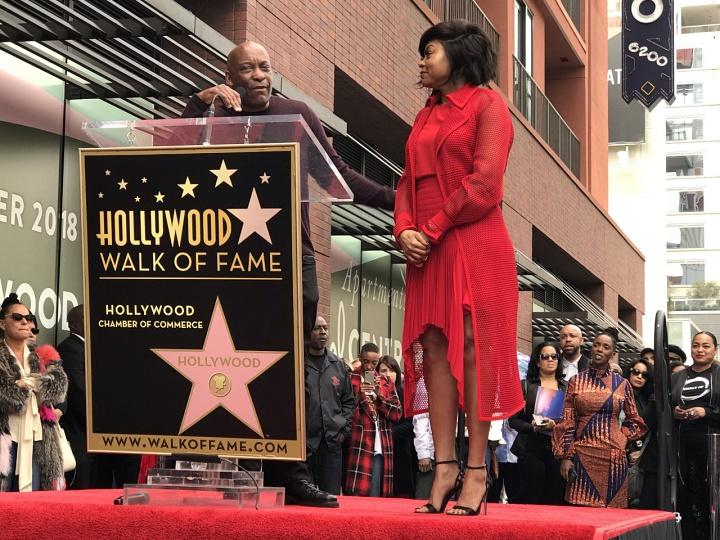 Director John Singleton congratulates Taraji on her Star