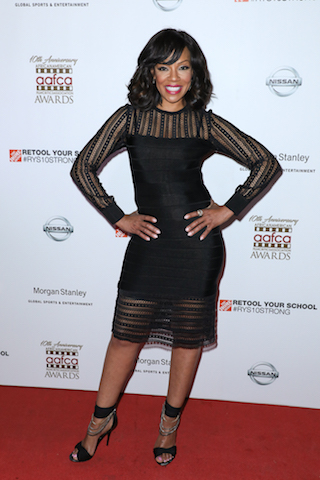 Presenter Wendy Raquel Robinson on the red carpet at the 10th Annual AAFCA Awards