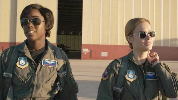 Female pilots Lashana Lynch and Brie Larson in Captain Marvel