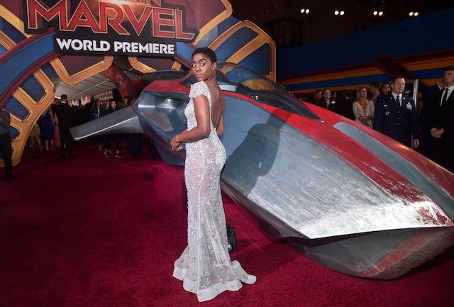 "Actor Lashana Lynch attends the Los Angeles World Premiere of Marvel Studios' ""Captain Marvel"""