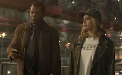 Samuel L Jackson and Brie Larson on the set of Captain Marvel