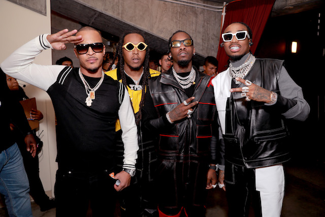 T.I. (L) and Migos attend Nickelodeon's 2019 Kids' Choice Awards at Galen Center on March 23, 2019 in Los Angeles, California