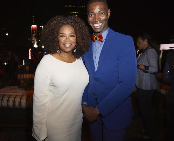 Executive producer Oprah Winfrey with creator and executive producer Tarell Alvin McCraney