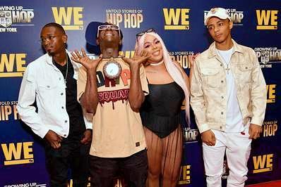 "(L-R) ""Growing Up Hip Hop- New York"" cast members William Draymond Jr., Flavor Flav, Da'zyna Draymond and H2Flee"