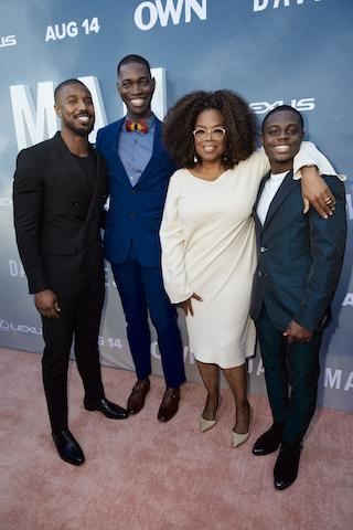 Oprah Winfrey with executive producer Michael B. Jordan, creator and executive producer Tarell Alvin McCraney, star Akili McDowell and OWN President Tina Perry