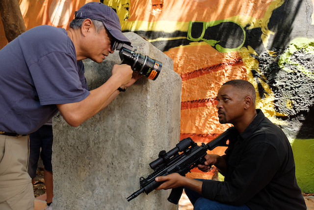 Director Ang Lee and Will Smith on the set of Gemini Man