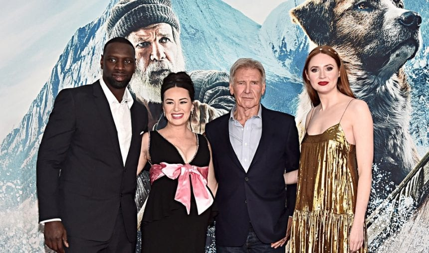 L-R: Omar-Sy and cast members Cara Gee, Harrison Ford and Karen-Gillan