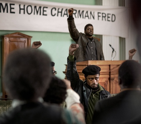 Center front-back - LaKEITH STANFIELD as William O'Neal and DANIEL KALUUYA as Chairman Fred Hampton